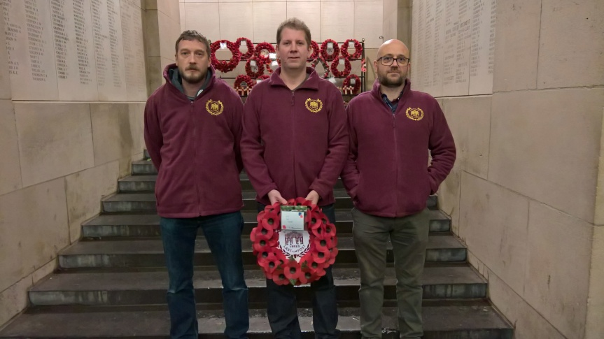 Kevin Brain, Stephen Wood and Steven Davis about to lay the BLP wreath at the Menin Gate