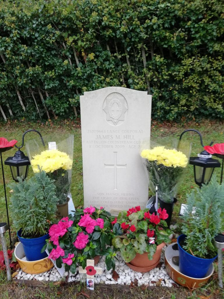 Lance Corporal James Hill's grave in Redstone Cemetery, Redhill, Surrey.