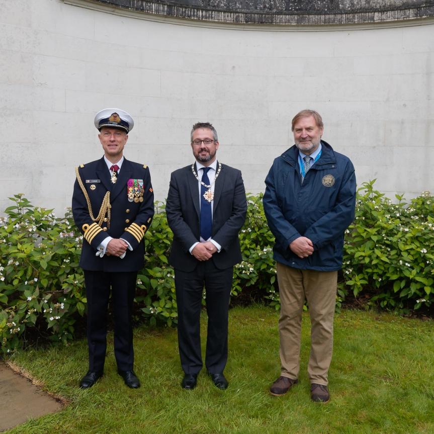 Capt. Flamant, Mayor of Woking Cllr Liam Lyons, Angelo Munsel